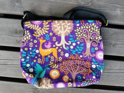 Olkalaukku keskikokoinen, metsä (violetti)